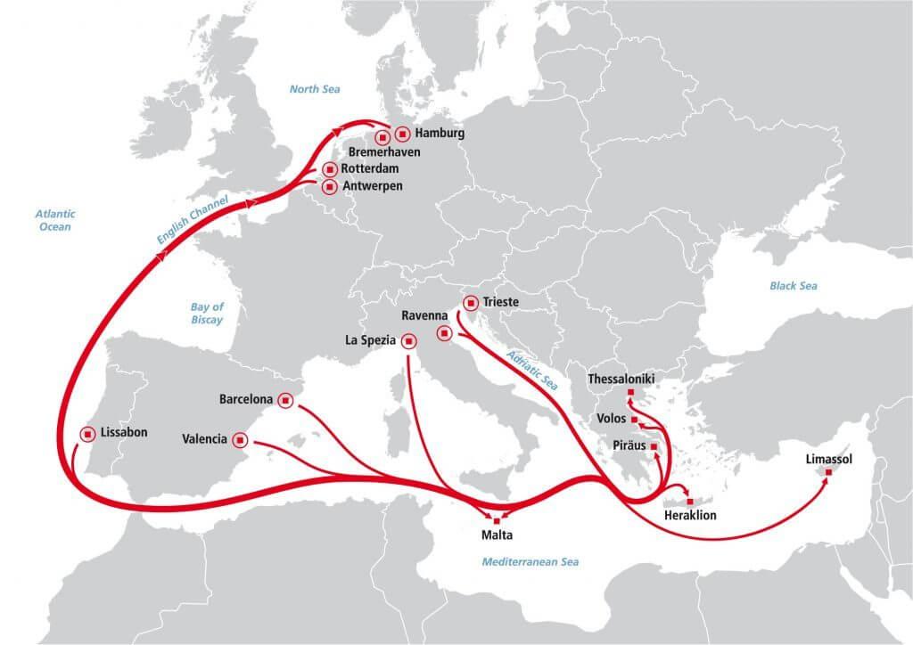 Shortsea - von Nord- und Südhäfen nach Südeuropa