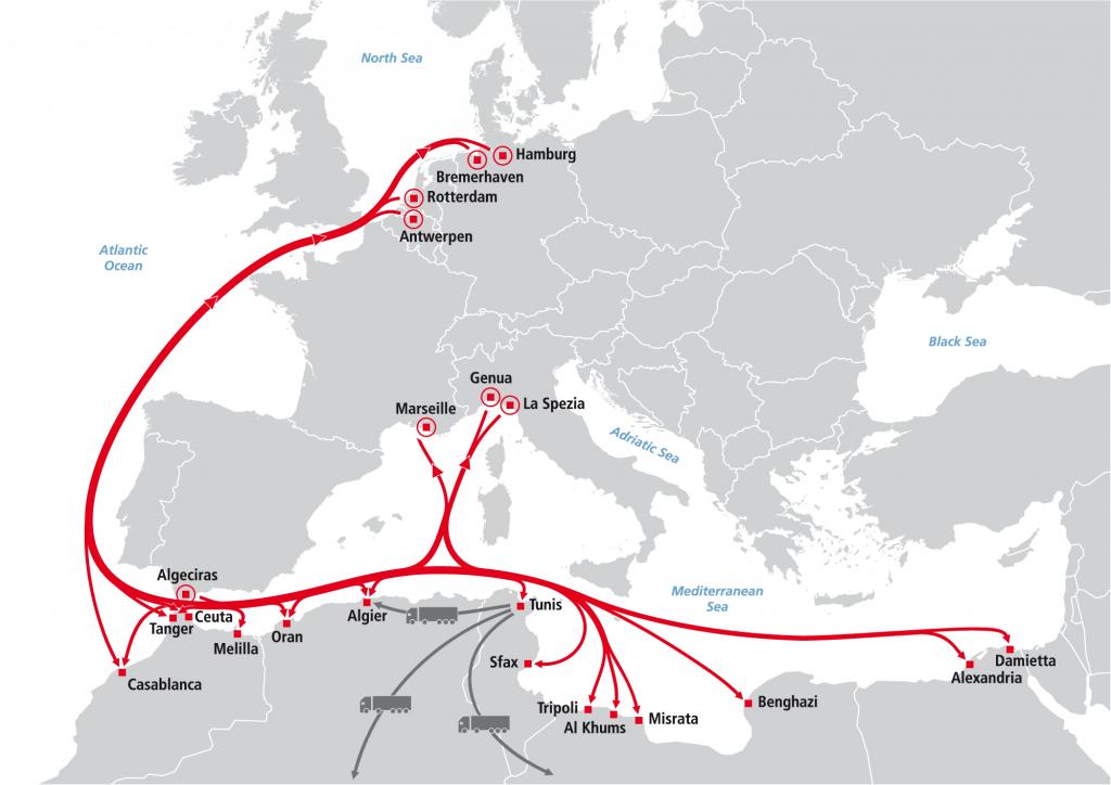 Shortsea - Nordafrika Nord und Südhafen